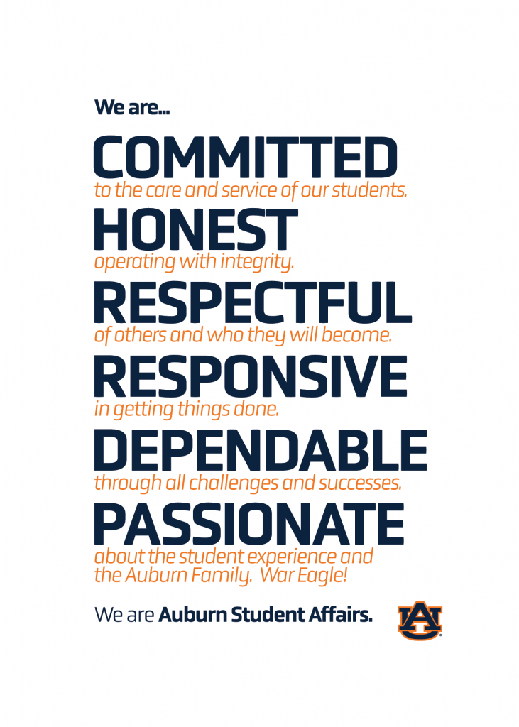 Student Affairs is committed, honest, respectful, dependable and passionate.